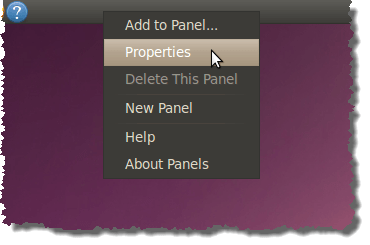 Getting properties for the top panel