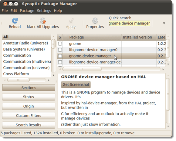 Selecting the GNOME Device Manager for installation