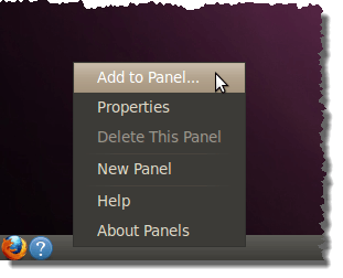 Add to Panel option for adding the Main Menu