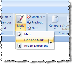 Selecting the Find and Mark option