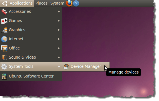 Opening the GNOME Device Manager