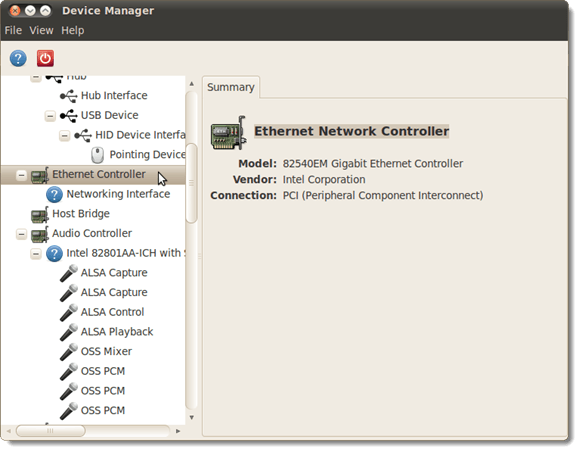 The GNOME Device Manager main window