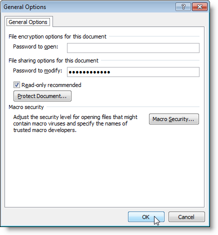 General Options dialog box