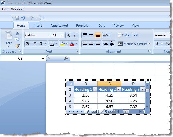 How to Insert an Excel Worksheet into a Word Doc