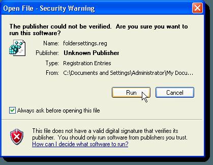 Security Warning dialog box about foldersettings.reg file