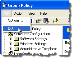 Closing the Group Policy editor