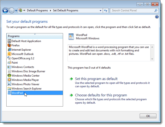 Setting your default programs