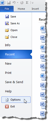 Clicking Options on the File tab
