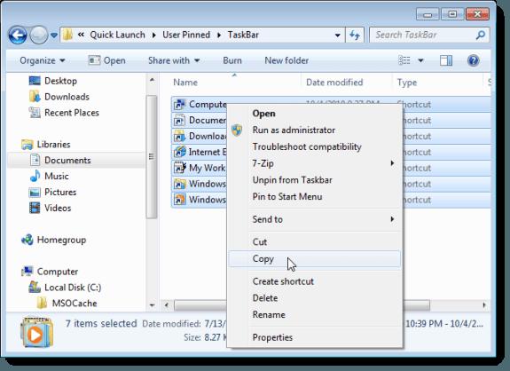 Copying Taskbar pinned items