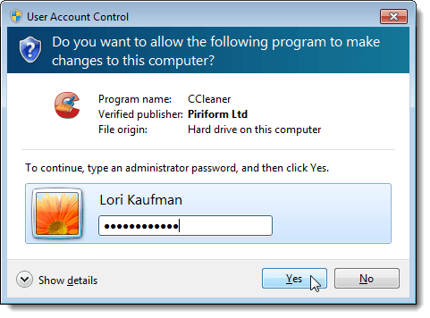 Enter the administrator password on the UAC dialog box