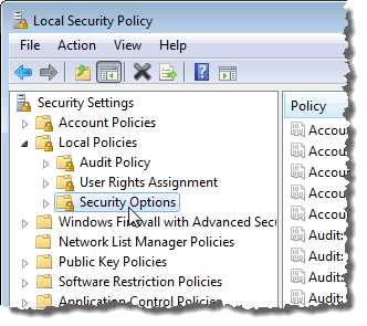 Selecting Security Options