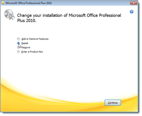 Choosing to Repair your Microsoft Office 2010 installation
