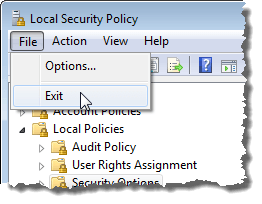 Closing the Local Security Policy editor