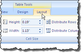 Clicking the Layout tab in Word 2007