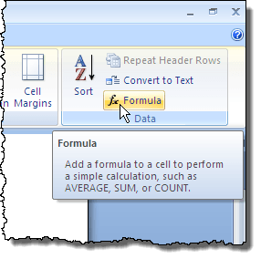 Clicking the Formula button in Word 2007