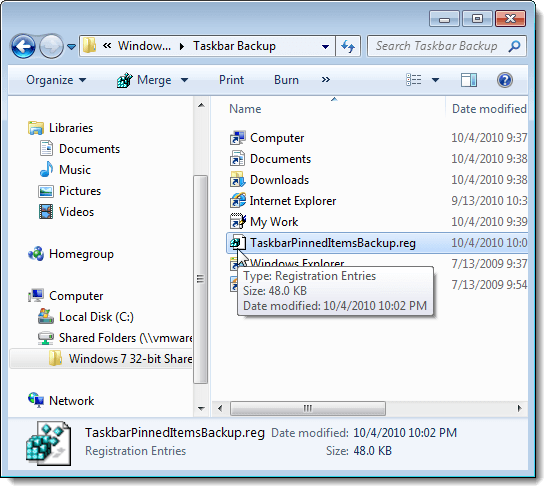 Pinned items registry key backup file