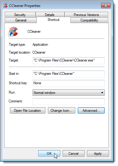 Closing the Properties dialog box