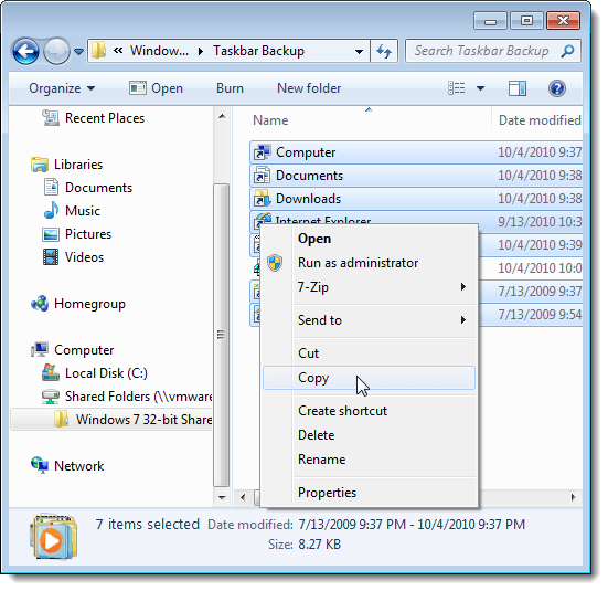 Copying pinned items in backup folder
