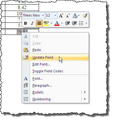 Updating the sum field in Word 2007