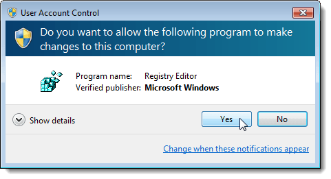 Clicking Yes on the User Account Control dialog box