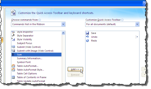 Adding the Sum button to the Quick Access Toolbar