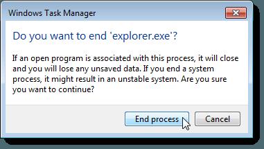 Confirmation dialog box for ending Explorer process