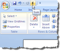 The Sum button on the Quick Access Toolbar