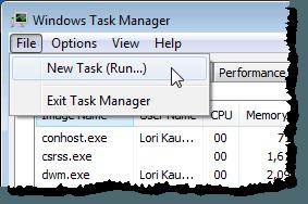 Selecting New Task