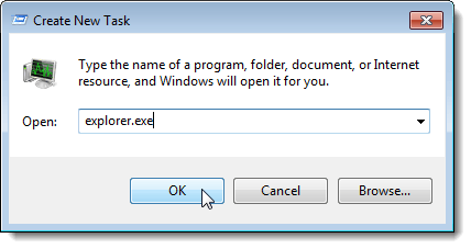 Entering explorer.exe on Create New Task dialog box