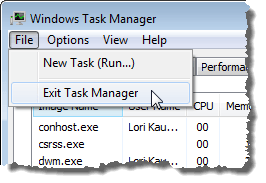 Closing the Task Manager