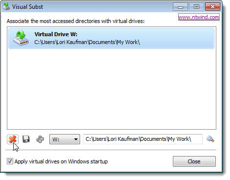 Deleting a virtual drive in Visual Subst