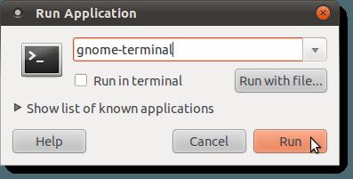 Opening a Terminal window using the Run Application dialog box