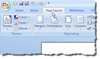 Clicking the Page Layout tab in Word 2007