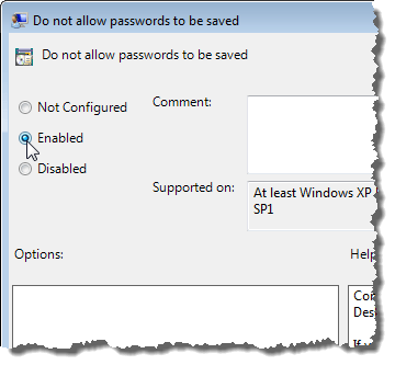 Enabling the Do not allow passwords to be saved setting