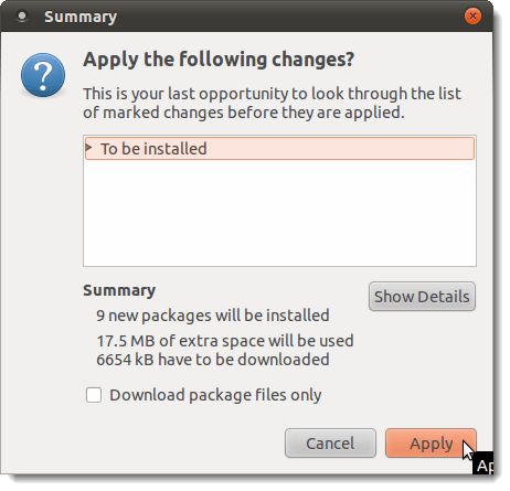 Summary dialog box