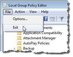 Closing the Local Group Policy Editor dialog box
