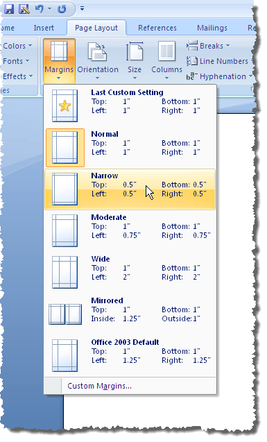 Selecting temporary margins in Word 2007