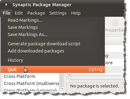 Closing Synaptic Package Manager