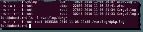 Listing just the dpkg log files