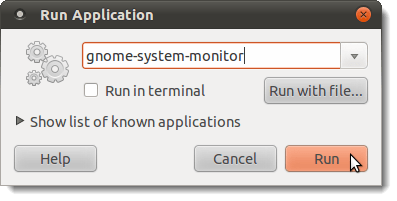 Opening the System Monitor using the Run Application dialog box