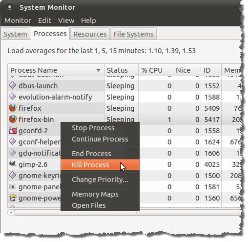 Killing a process in the System Monitor