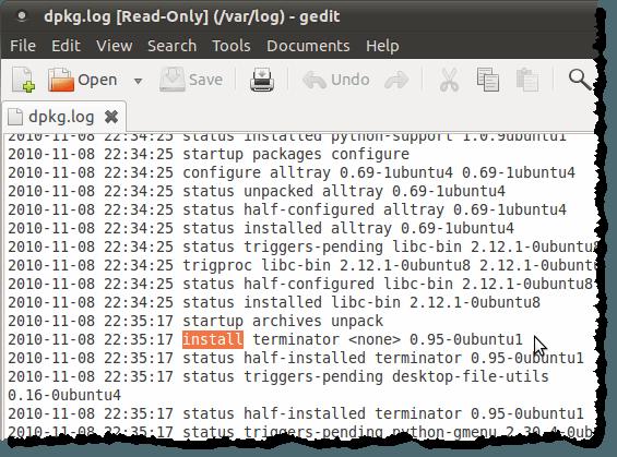 The dpkg.log file open in gedit