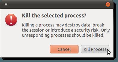 Kill Process confirmation dialog box
