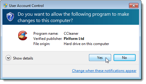 UAC dialog box for CCleaner