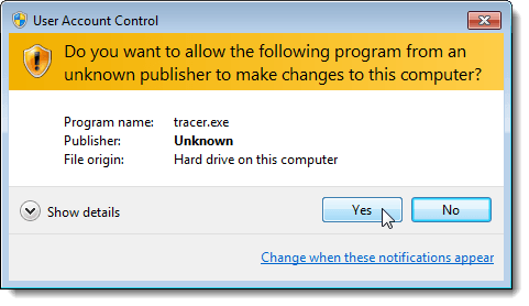 UAC dialog box for starting the UAC Trust Shortcut service