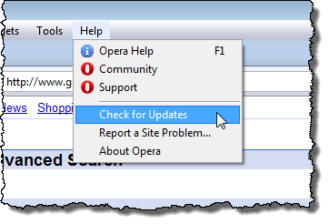Checking for updates in Opera