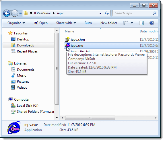 IE PassView executable file