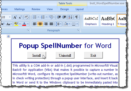 Popup SpellNumber installation document