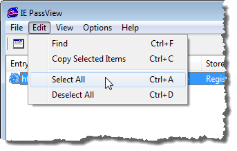 Selecting items using the Edit menu