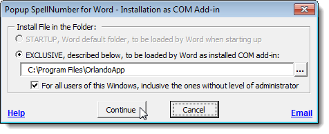 Installation as COM Add-in dialog box